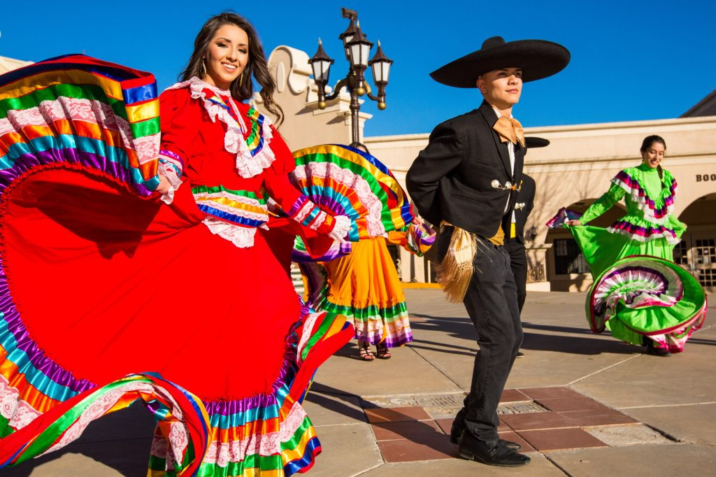 Performers dancing a traditional Mexican dance.