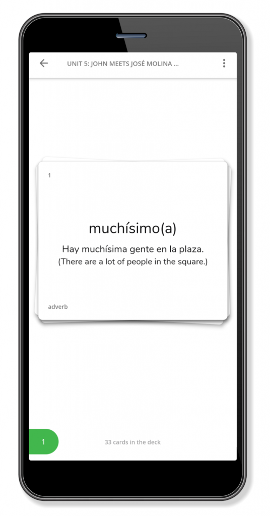 Screenshot of a flashcard from a unit of Camino Spanish.