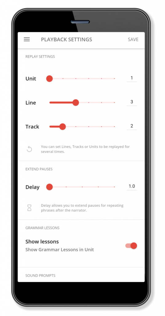 Screenshot of the playback settings screen from the Camino app.